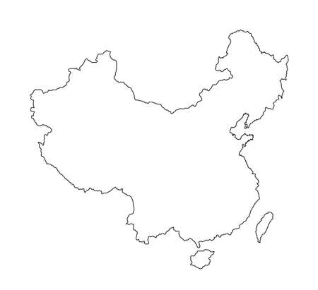 Editable blank vector map of  China isolated on white background. China map contour silhouette illustration.
