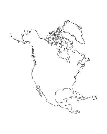 Northern America vector map contour silhouette illustration isolated on white background. United states of America, Canada, Mexico, Cuba,  Bahamas, Caribbean sea territory.