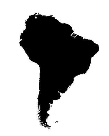 Southern America vector map silhouette illustration isolated on white background. Continent map with ocean borders and coast line. Иллюстрация