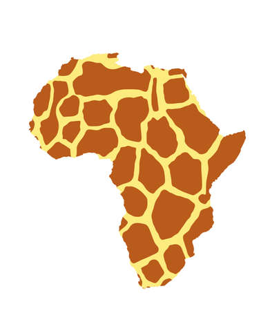 Giraffe skin pattern over map of Africa vector silhouette illustration isolated on white background.  Fashion animal print.