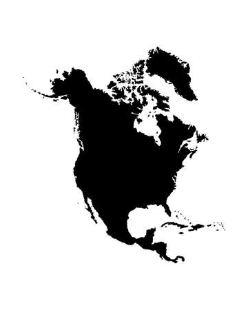 Northern America vector map silhouette illustration isolated on white background. United states of America, Canada, Mexico, Cuba,  Bahamas, Caribbean sea territory. Иллюстрация