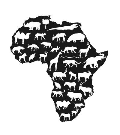 Continent map of Africa vector silhouette with wild animals. Travel invitation card for Africa nature. Savannah safari trip tourist attraction with giraffe, lion, elephant, rhino, hippo, zebra, hyena.