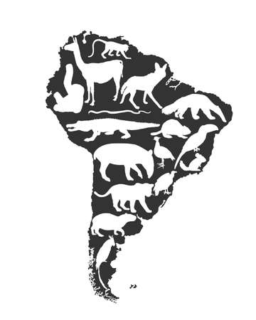 Continent map Southern America vector silhouette with wild animals. Travel destination for tourist. Wildlife exotic attraction jaguar, chinchilla, cayman, capybara, lama, giant anteater, macaw parrot.