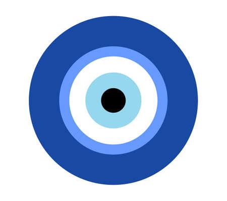 Greek evil eye vector, symbol of protection. Glass Turkish eye Nazar Boncugu. Amulet, talisman from the evil eye. Ilustración de vector