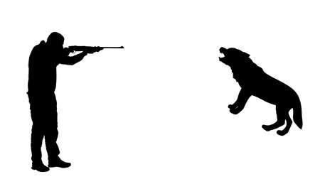 Hunter shooting wolf vector silhouette illustration isolated on white background. Man aiming with his rifle. Outdoor hunting scene. Pointer looking on prey. Man hunting wild animal, traditional hobby. Illustration
