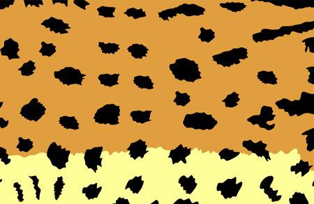 Serval skin pattern vector illustration. Fashion animal print. African animal texture. Serval fur background flag. Wild cat from Africa, caracal. Leptailurus serval symbol. Çizim