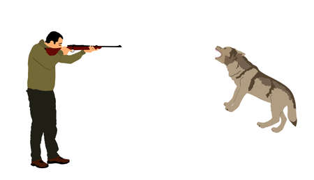 Hunter shooting wolf vector illustration isolated on white background. Man aiming with his rifle. Outdoor hunting scene. Pointer looking on prey. Man hunting wild animal, traditional hobby.