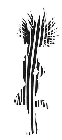 Brazil carnival dancer vector silhouette illustration isolated on white background. Rio De Janeiro entertainment. Attractive lady in animal print zebra costume. Pretty woman sensual dance.