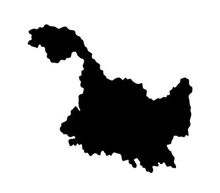 Province Heilongjiang map vector silhouette illustration isolated on white background, China region map.