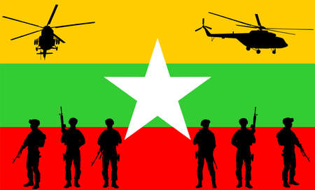 Army soldiers unit with rifles on duty over Myanmar flag vector illustration. War crisis after military coup. Civil war alert situation. Violent change of government.