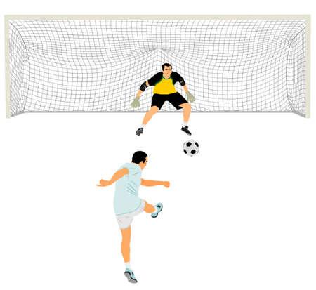 Soccer player kick ball, takes the penalty against goalkeeper vector illustration isolated on white background. Goal net construction. Football goal keeper against shot. Defender sportsman keep goal.