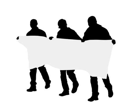 Men protester hold transparent in hand vector silhouette isolated. Hand holding protest sign. People in political agitation propaganda poster. Vote campaign for better laborer rights and salary on job Stock Illustratie