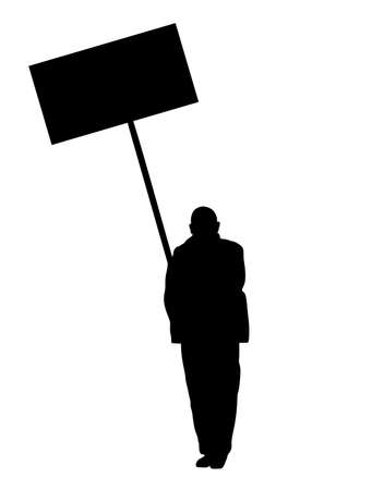Man protester hold transparent in hand vector silhouette isolated. Hand holding protest sign. People in political agitation propaganda poster. Vote campaign for better laborer rights and salary on job