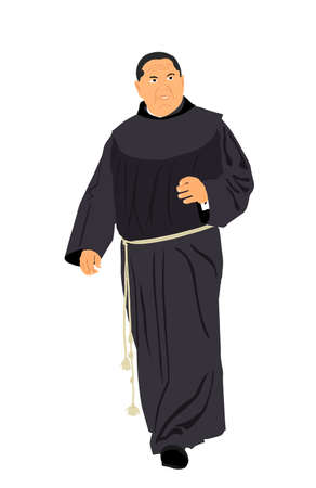 Franciscan monk, catholic priest vector illustration isolated on white background. Frat in uniform. Bishop vector, monastic of the Christian Catholic Church. Preacher.