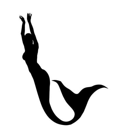Elegant mermaid vector silhouette illustration isolated on white background. Attractive woman from mythology. Siren lady with long tail dancing under the sea. 矢量图像