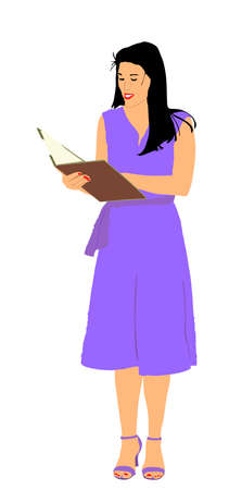 Show host woman speaking on election event vector  illustration. Head announces present news. Announcement of the program. Public speaker lady event presenter standing on stage and reading papers.