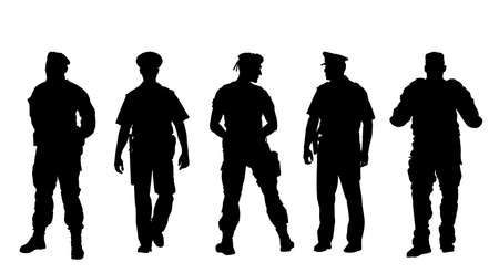 Policeman officer on duty vector silhouette isolated on white background. Police man in uniform in patrol on street.  Security service member protect people. Law and order. Against terrorism unit.