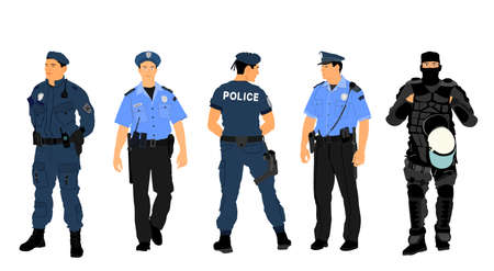 Policeman officer on duty vector illustration isolated on white background. Police man in uniform in patrol on street.  Security service member protect people. Law and order. Against terrorism unit. 矢量图像