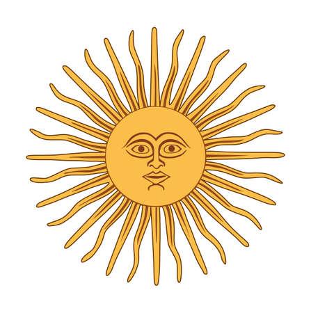 The Inca sun God. Sun of may. Inca god Inti, from Argentina and Uruguay national flag. Antique sun symbol with face, vintage heraldic emblem.