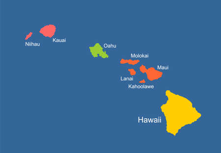 Hawaii vector map high detailed silhouette illustration isolated on blue background. Island archipelago.