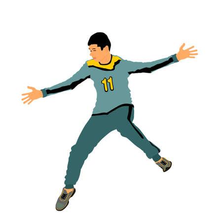 Handball goalkeeper vector illustration isolated on white background. Soccer goalkeeper. Defender sportsman position. Save penalty. Man on goal, sport boy.