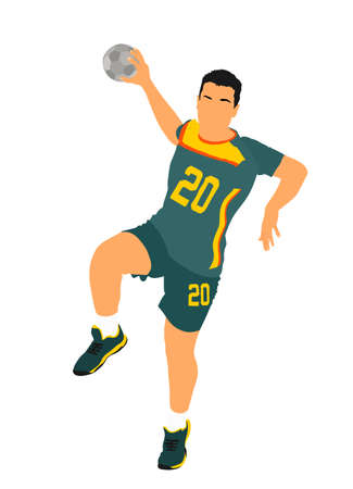 Attack action handball player jumping and shut ball in goal vector illustration. Elegant body sport figure. Athlete man jump and shooting penalty in goal. Sport man handball. Boy on training.