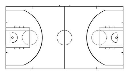 Diagram of basketball court vector illustration isolated on white background. Basketball field scheme symbol. Sport terrain draft.