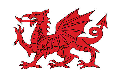 Wales coat of arms red dragon silhouette, seal, national emblem, isolated on white background. Vector Coat of arms of Wales.