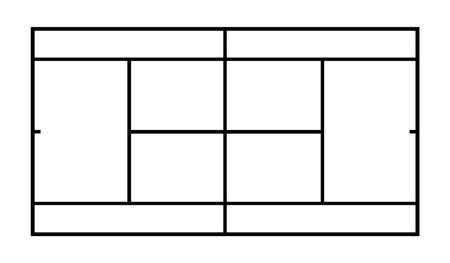 Diagram of tennis court vector illustration isolated on white background. Tennis field scheme symbol. Sport terrain draft.