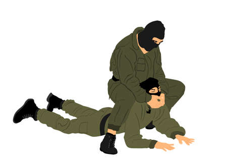 Soldier special force member skill presentation against terrorist enemy vector illustration isolated on white background. Man fighting against aggressor on ground. Combat for life, Policeman arrest