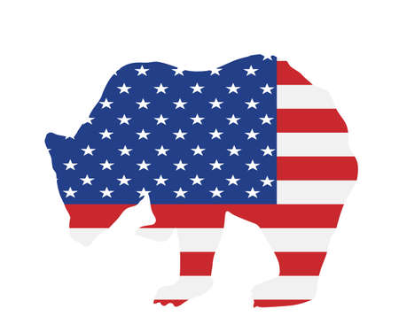 United States of America flag over bear vector illustration isolated on white background. Grizzly Patriot. Power and pride USA flag banner freedom. Wild powerful animal, strong economy national symbol Illusztráció