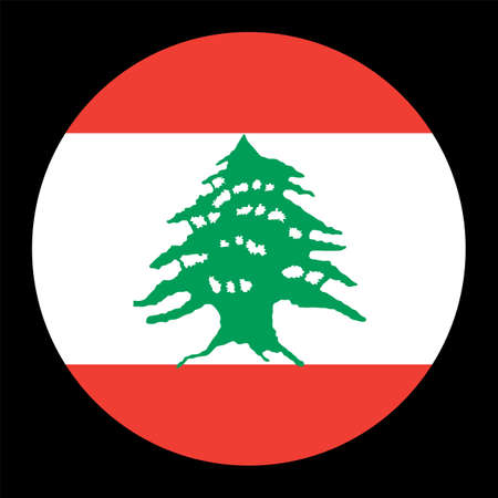 Lebanon vector flag circle isolated on black background. Asia country. Middle east state. Lebanon badge banner. Ilustrace