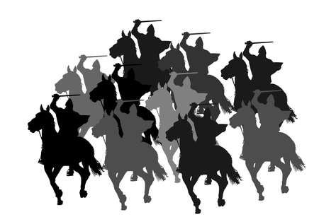 Knight in armor with sword and shield riding horse vector silhouette isolated. Horseman medieval fighter in battle. Cavalryman hero keeps castle walls. Armed man defends country against enemy.