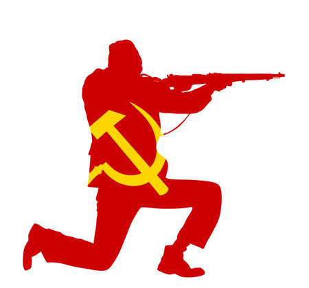 Red army soldier with rifle in battle vector silhouette illustration isolated on white background. Brave man on East front defend country against enemy. Sickle and hummer over Soviet comrade in combat