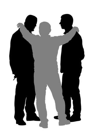 Reasonable man wants to prevent conflict between unreasonable enemies vector silhouette illustration isolated on white. Peaceful conciliator between angry people in verbal conflict Calm down situation