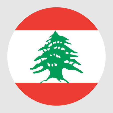 Lebanon vector flag circle isolated on white background. Asia country. Middle east state. Lebanon badge banner.