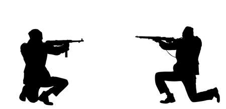 Second world war army soldier opponents with rifle in battle vector silhouette. WW2 soldier with rifle aim shooting at the enemy during combat. Scary war situation, brave man defends his country. Ilustrace
