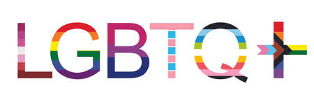 LGBTQ+ word banner vector illustration isolated on white background. Typography with L Lesbian flag, G Gay Pride flag colors. B Bisexual flag. T Transgender community pride. Q Queer. Gay parade symbol Ilustrace
