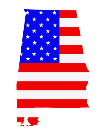 Alabama state map vector silhouette illustration. United States of America flag over Alabama map. USA, American national symbol of pride and patriotism. Vote election campaign banner.