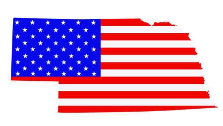 Nebraska state map vector silhouette illustration. United States of America flag over Nebraska map. USA, American national symbol of pride and patriotism. Vote election campaign banner.