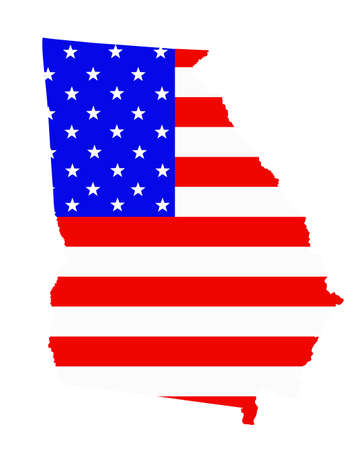 Georgia state map vector silhouette illustration. United States of America flag over Georgia map. USA, American national symbol of pride and patriotism. Vote election campaign banner.