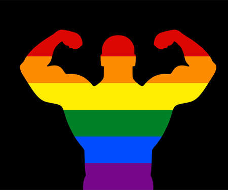 Gay flag over man muscular bodybuilder vector silhouette illustration isolated on background. Sport homosexual boy strong arms. Body builder athlete show muscles. Rainbow flag, LGBT colorful symbol.