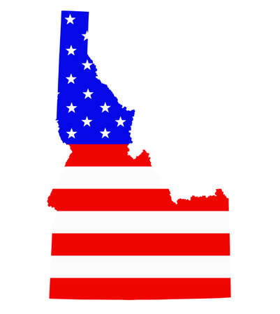 Idaho state map vector silhouette illustration. United States of America flag over Idaho map. USA, American national symbol of pride and patriotism. Vote election campaign banner.