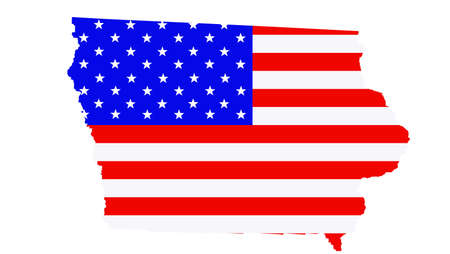 Iowa state map vector silhouette illustration. United States of America flag over Iowa map. USA, American national symbol of pride and patriotism. Vote election campaign banner. Ilustrace