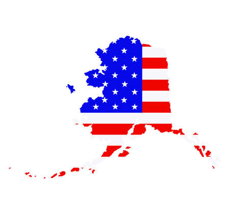 Alaska state map vector silhouette illustration. United States of America flag over Alaska map. USA, American national symbol of pride and patriotism. Vote election campaign banner.