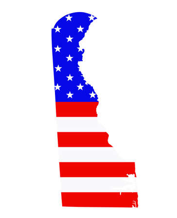 Delaware state map vector silhouette illustration. United States of America flag over Delaware map. USA, American national symbol of pride and patriotism. Vote election campaign banner. Ilustrace