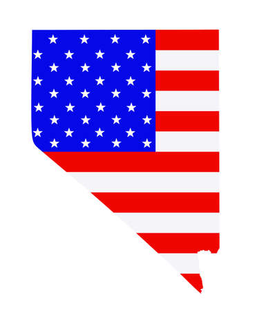 Nevada map vector silhouette illustration. United States of America flag over Nevada map. USA, American national symbol of pride and patriotism. Vote election campaign banner.
