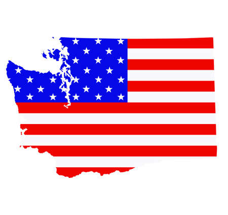 Washington state map vector silhouette illustration. United States of America flag over Washington map. USA, American national symbol of pride and patriotism. Vote election campaign banner.