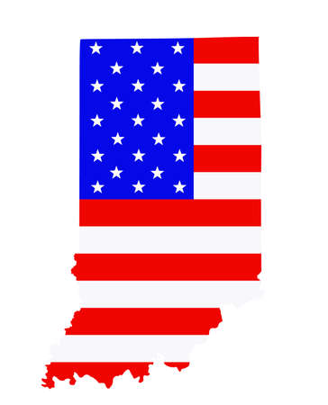 Indiana state map vector silhouette illustration. United States of America flag over Indiana map. USA, American national symbol of pride and patriotism. Vote election campaign banner.