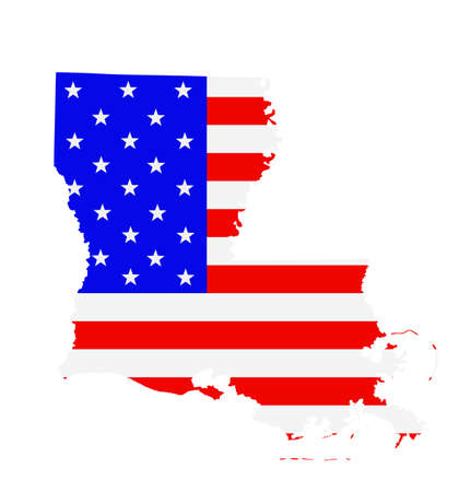 Louisiana state map vector silhouette illustration. United States of America flag over Louisiana map. USA, American national symbol of pride and patriotism. Vote election campaign banner.